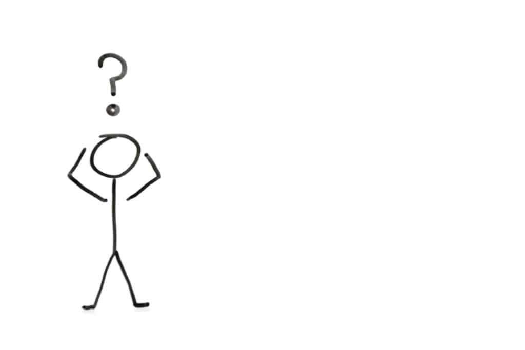 Stick figure with question mark depicting confusion over white background